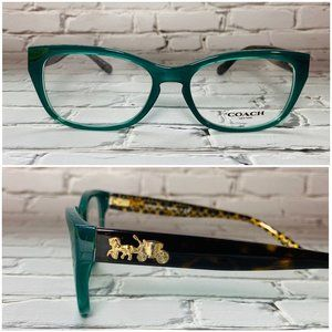 Coach Square Green Brown Eyeglass Frames NWOT